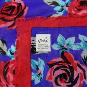 Glintex Accessories - Vintage Glintex Floral Acrylic Scarf Made in Japan
